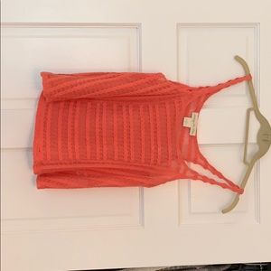 Anthropologie Staring at Stars Coral Crochet Tank